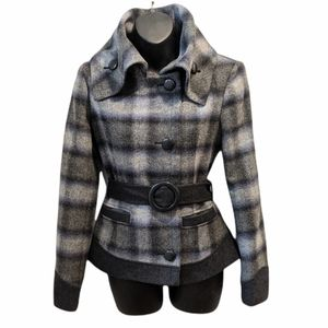 Guess women's plaid wool blend belted jacket XS
